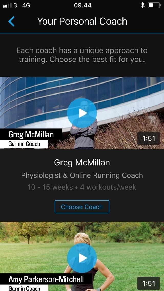 garmin coach test